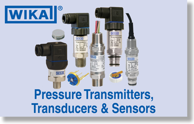 Wika Pressure Transmitters, Transducers and Sensors